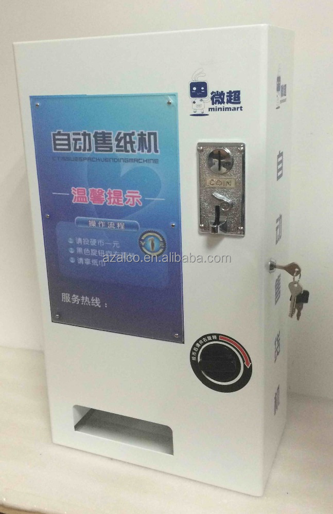 Mechanical coin operated vending machine for tissue wall mount