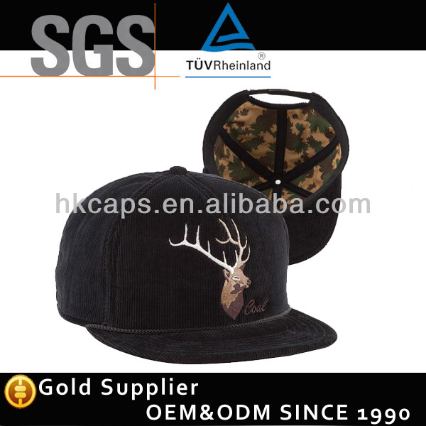 High quality black corduroy 5-panel hat flat embroidered cowboy hat