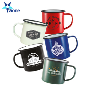 Custom Logo Printed Red White Black Color 8oz 9oz 12oz Sublimation Metal Enamel Mug Coffee Camping Cup
