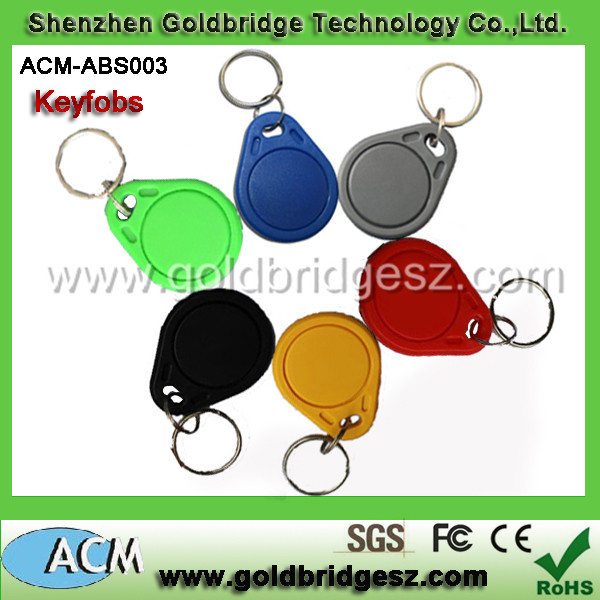 wholesale 13.56mhz keychain access control waterproof leather em4100 t5577 chip abs 125 khz rfid keyfob