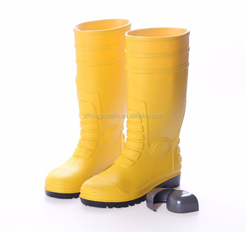 6ce08b71a2a2 Yellow PVC Water Rainboots   Working Rubber Shoes   Safety Rain boots with Steel  Toe