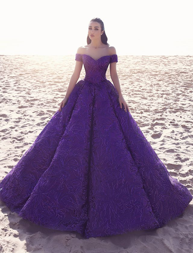 Luxurious Purple Wedding Dress Bridal Gown Off Shoulder Puffy Princess Lace  Gowns 2018 , Buy Wedding Dress Bridal Gown,Luxurious Wedding Dress,Lace