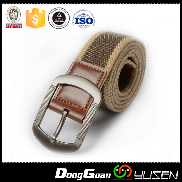 Plain Canvas Solid Gold Brass Metal Roller Buckle military web belt