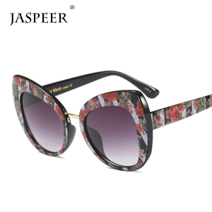 Jaspeer fashion trendy decoration italy design ce uv400 cat eye black oversized sunglasses