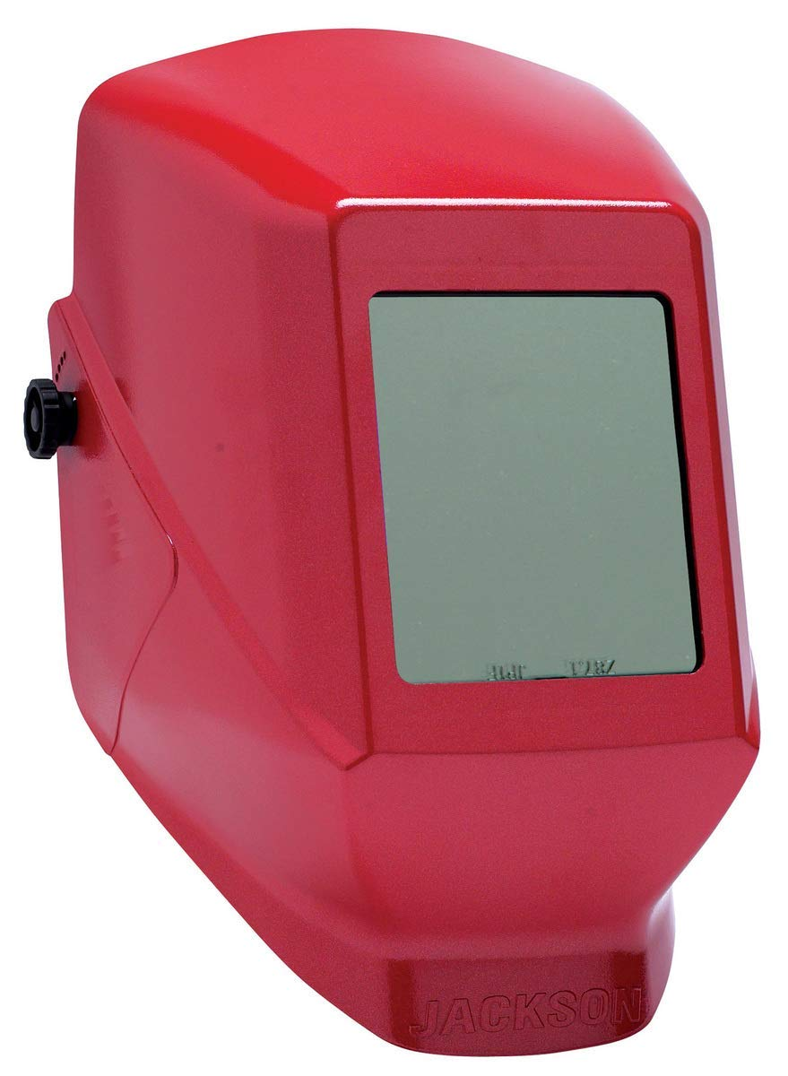 """Kimberly-Clark Professional Jackson Safety HSL 100 Red Thermoplastic Fixed Front Welding Helmet With 4 1/2"""" X 5 1/4"""" Shade 10 Lens - 4 Each/Case"""