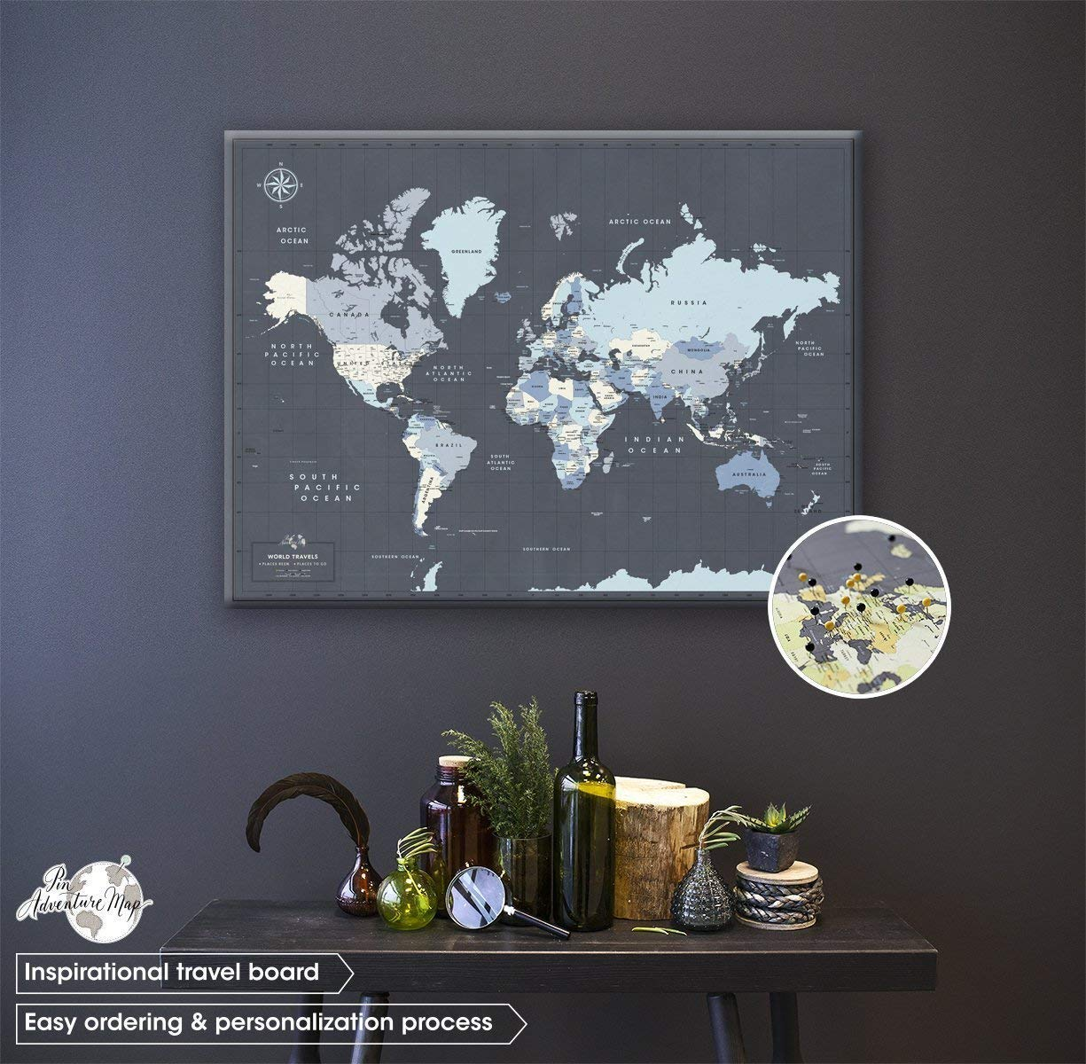 Navy Canvas Push Pin Travel Map - Personalized World map with pins - Fine Art Quality