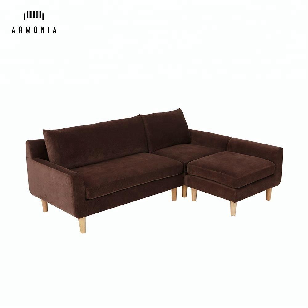 High quality cheap modern furniture new design models wooden fabric queen corner sofa