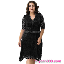 Plus size factory directly cross neck mature women party wear sexy lace short dress