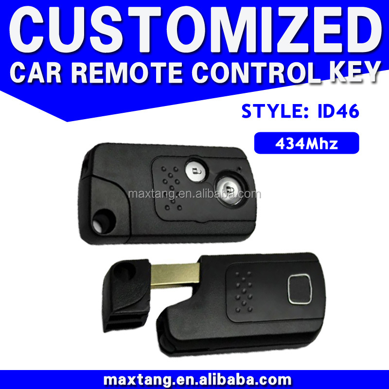 Uncut Blade Ignition Car Key Transponder Chip 46 Fit For Honda 434MHz 2 Button Key MTF-100423