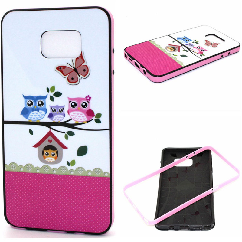 promo code 42cec 00b8b Hybrid Cute Owls Cartoon Mobilephone Cases for Samsung Galaxy Note 5 N9200  Soft tpu Silicone Back Cover with Frame Phone Cases