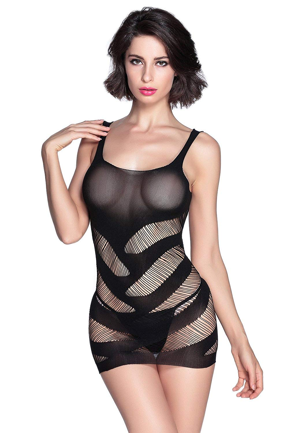 3bbdc0247f2 Get Quotations · TEZUKAFUJI Womens Sexy Camisole Lingerie Striped Cutout  Mini Chemise Dress