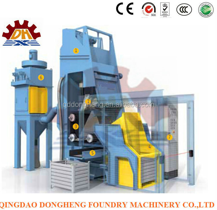 Abrasive buffing by Auto Loading Q326 type rubber apron shot blasting machine