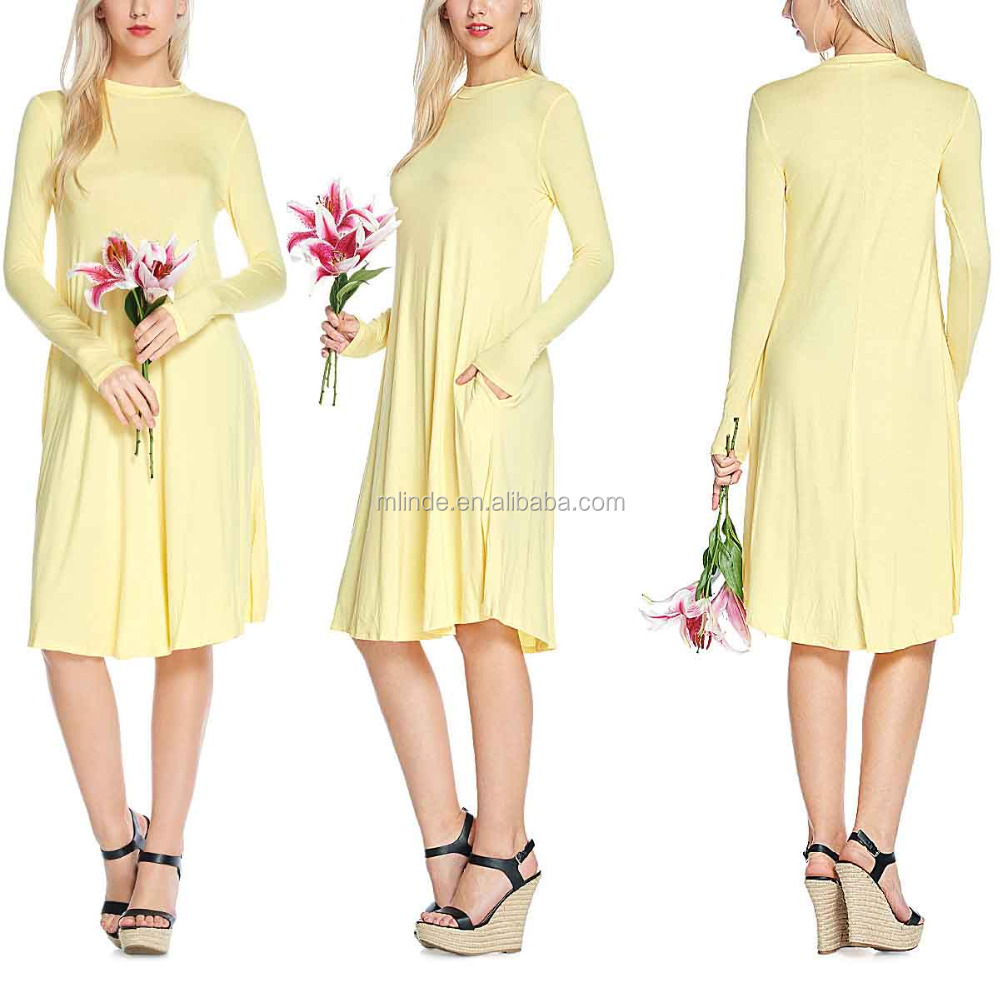 OEM Pleats Dress Women Clothing 95% Rayon / 5% Spandex Soft Fabric Long Sleeve Crew Neck Dress With Seam Pockets