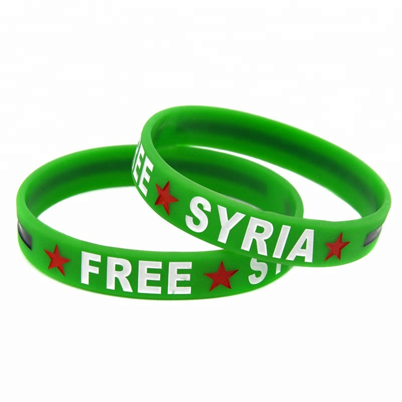Wholesale 50PCS/Lot Free Syria Silicone Wristband Bracelet Adult and Youth Sizes Available, White;black;green