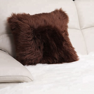 Private label custom decorative faux fur seating pillow white