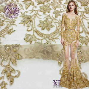 New arrival hand made luxury gold sequin beaded pearl French lace fabric
