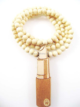 Good quality Hip-Hop lip gloss Pendants Wood Rosary Bead Necklaces