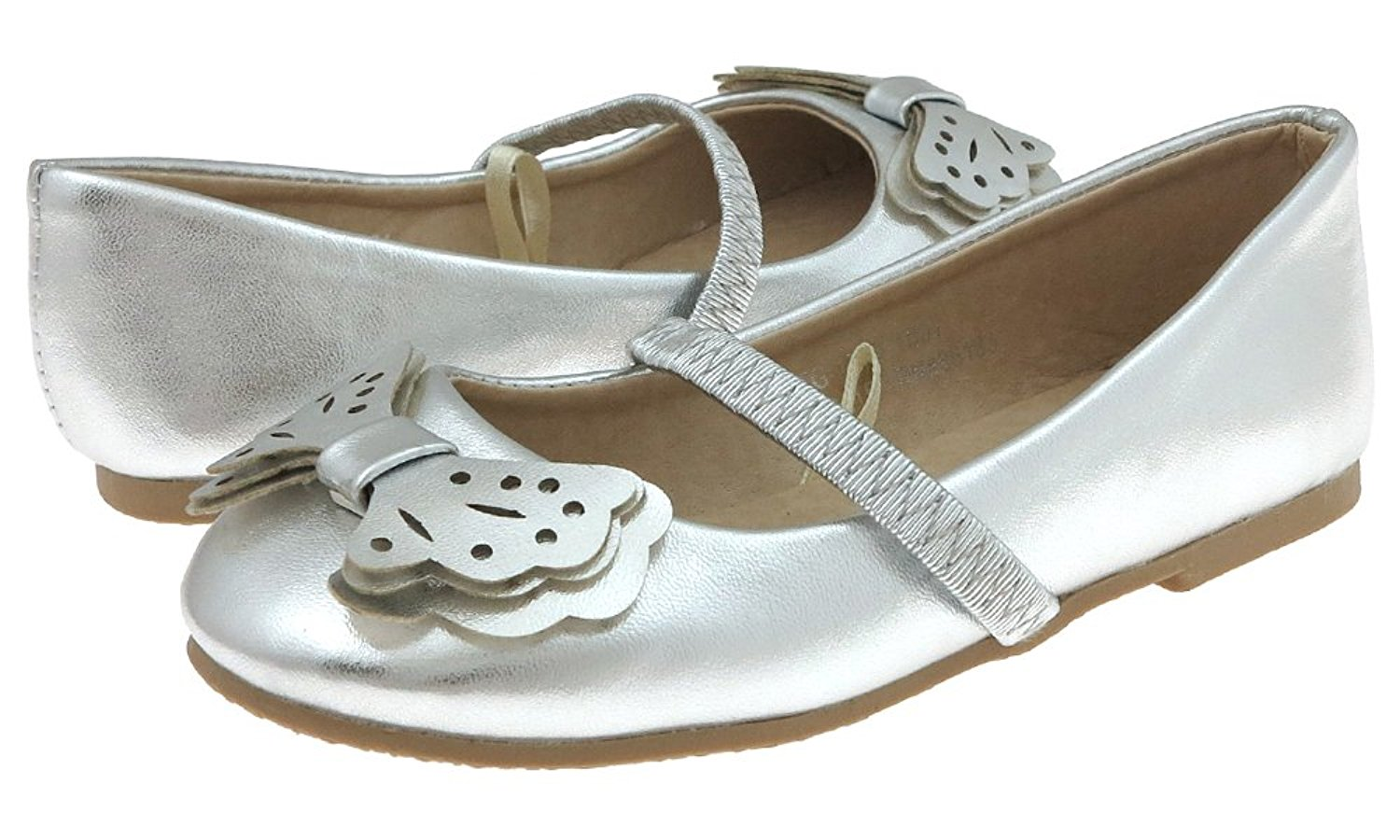 Capelli New York Toddler Girls Metallic Faux Leather Flat with Butterfly