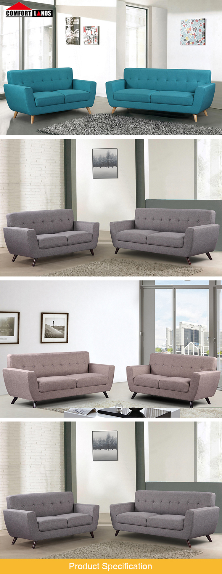 Latest Design Wooden Leg Sofa Set Fabric Contemporary Sofa For