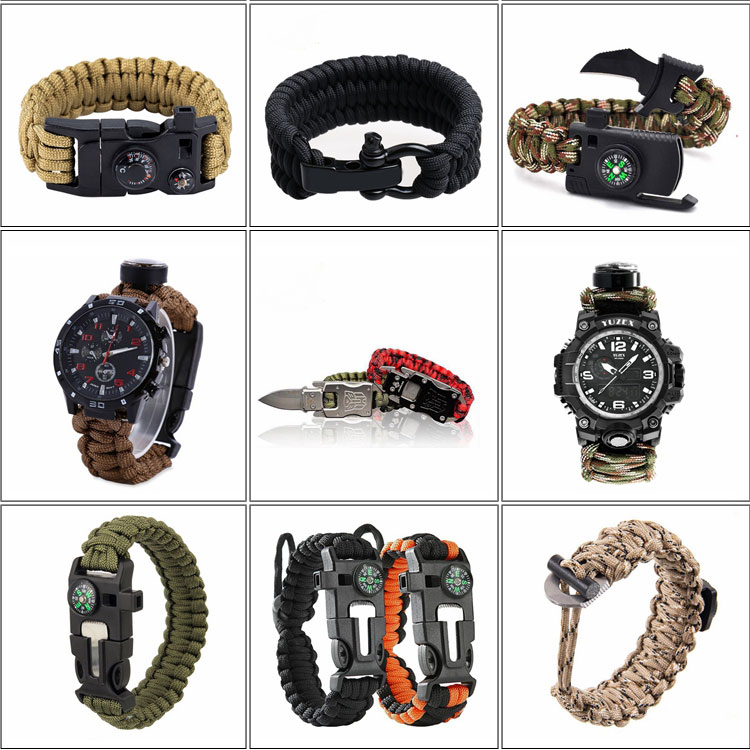 Hot Sale High Quality Colorful Paracord Waterproof Compass Survival LED Bracelet