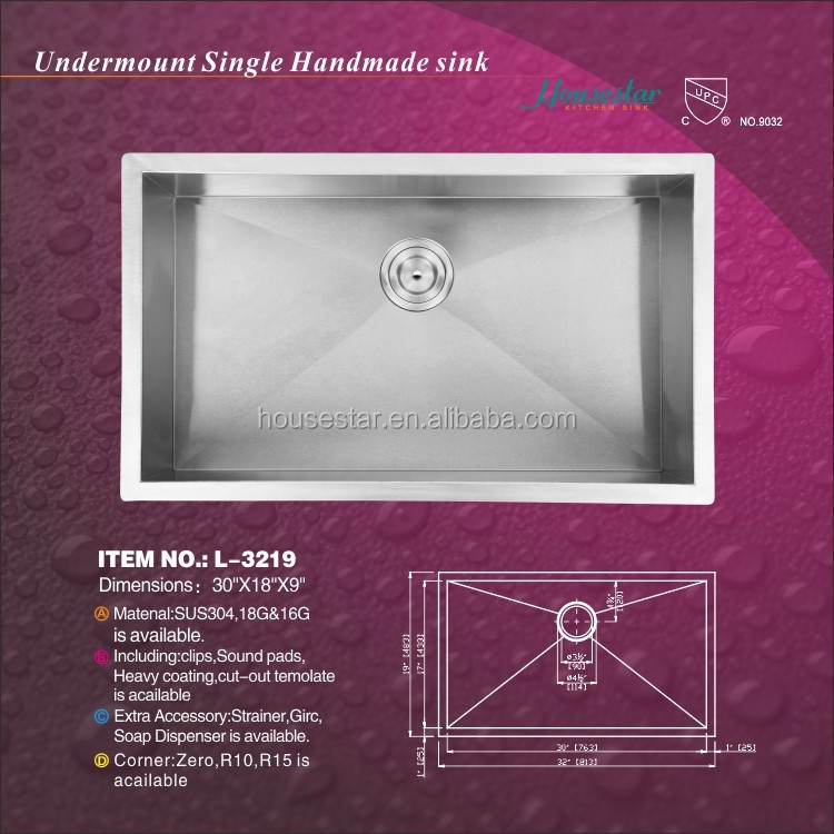 Cupc SUS304 Hot Sale undermount handmade stainless steel kitchen sink with single bowl for USA and CAN---L-3219