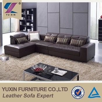 Living room leather sofa set designs/modern l-shape chesterfield ...