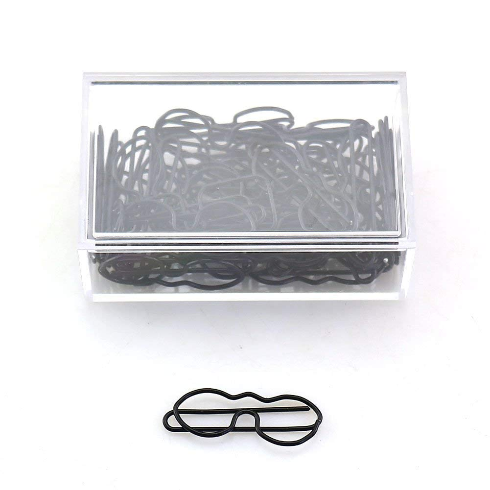 OUTU 30pcs/box Officeship Glasses Shaped Paper Clips Funny Kawaii Bookmark Office School Stationery Marking Clips H0161 (circle)