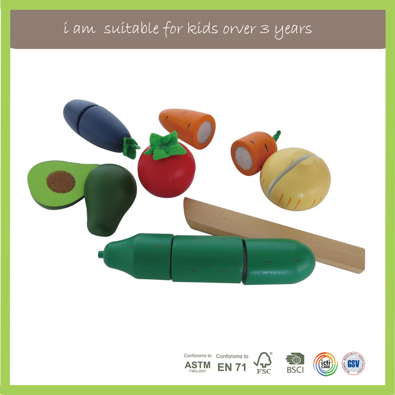New Diy Kids New Multifunction Colorful Food Educational Vegetables Wooden Cutting Toys