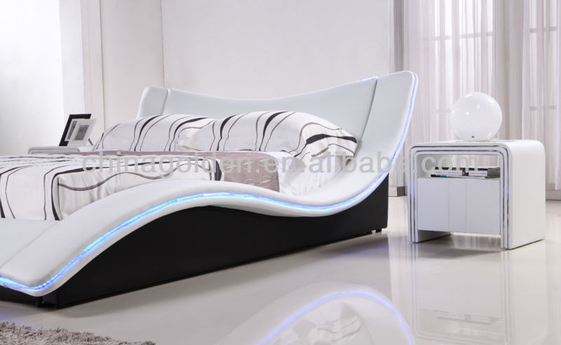 Hot Sale Indian Wood Double Bed Designs With LED Light