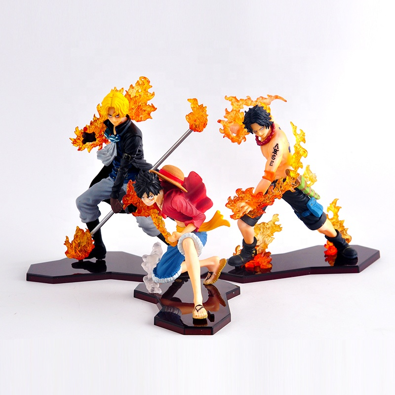 3 pçs/set Ataque Estilo Japão Anime One Piece Monkey D Luffy Figuras Portgas D Ace Sabo Luffy Figura de Ação DO PVC estatueta