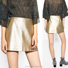 Metallic Shiny Mini Rok Side Rits PU Blingbling Lederen Rok