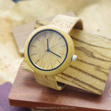 most nature bamboo wood watches with real cork band ,straps are eco-friendly material , cork leather wood watch