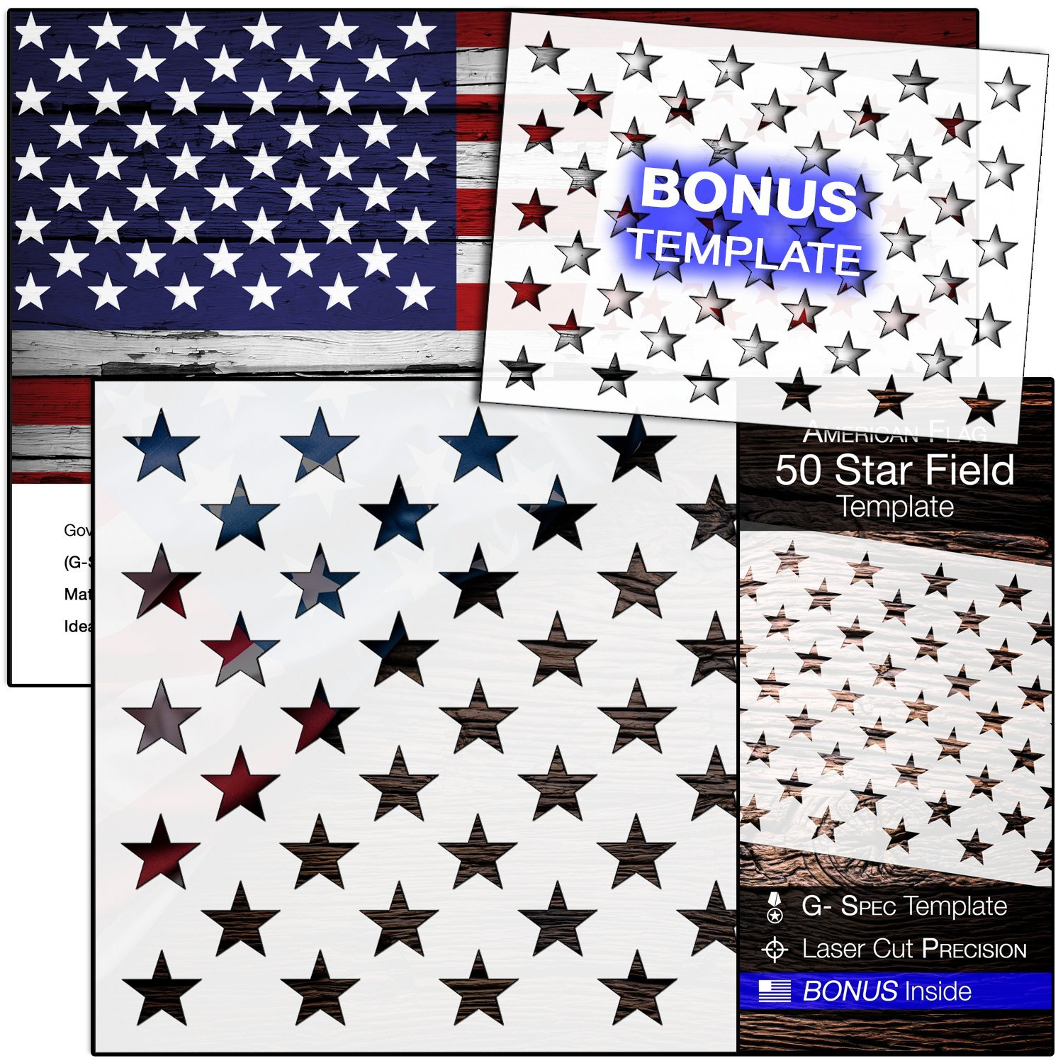 "American Flag 50 STAR STENCIL for Painting on Wood, Fabric, Walls, Airbrush + More | Reusable G-SPEC 10.5 x 14.82 inch mylar Template + FREE 7 x 9.88"" Starfield Stencil"