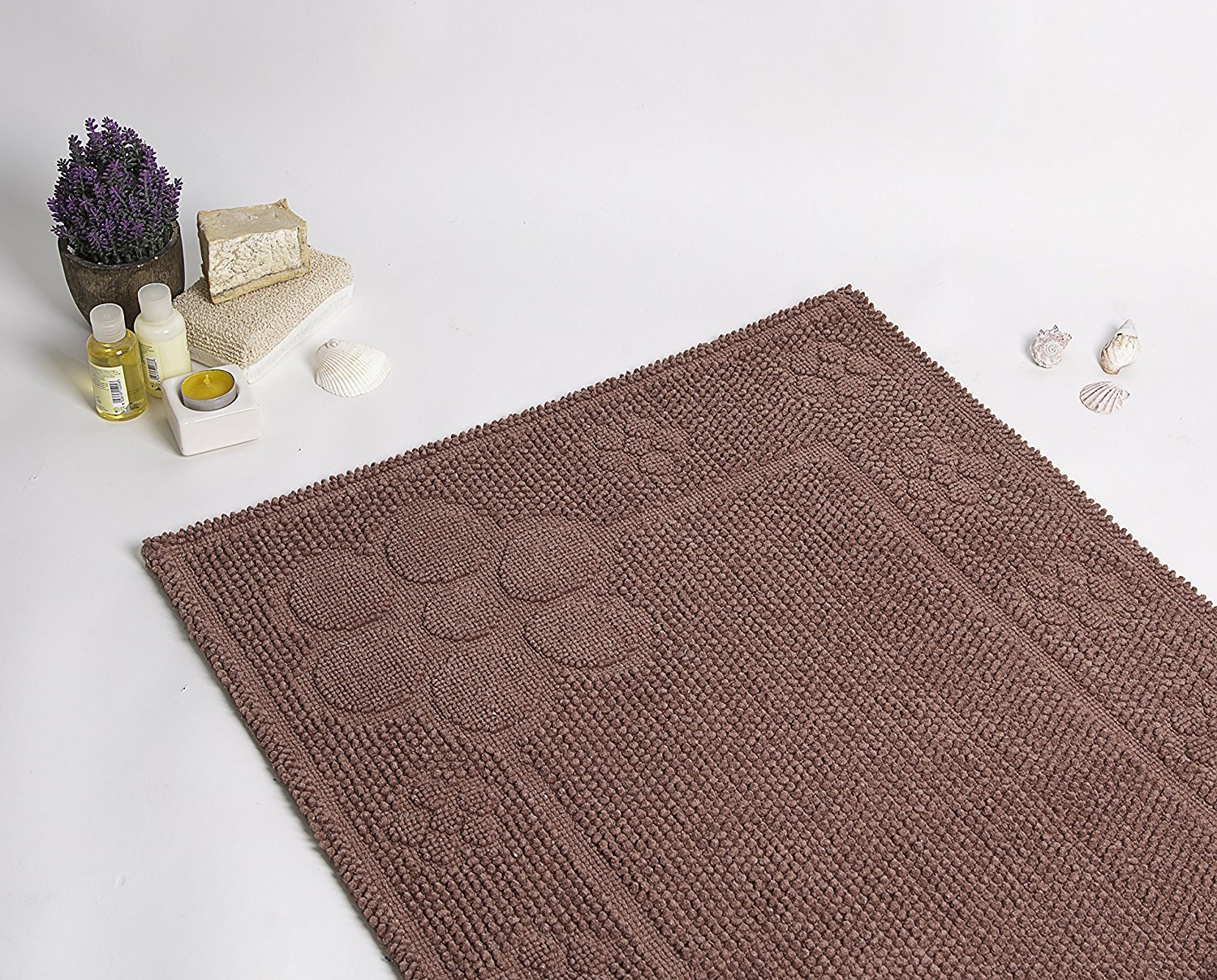 Get Quotations · Brown, %100 Cotton Naturel Bath Rug, Floor Mat, Bathroom  Mat, Shower