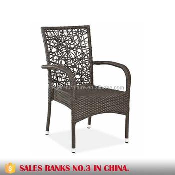 Garden Wicker Arm Chair Stackable Restaurant Outdoor Chair Synthetic Rattan  Chair