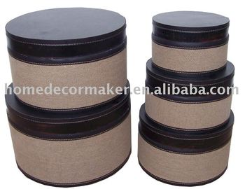 Wooden Hat Box, Hessian Surface On Wooden Round Storage Box