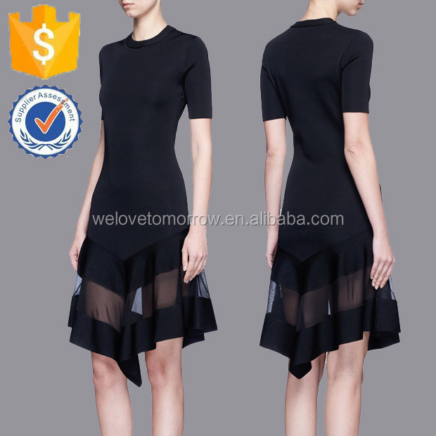 Black Fine Knit With Moderate Stretch Summer A-line Midi Dresses of Ladies Manufacture Wholesale Fashion Women Apparel (TF0380D)