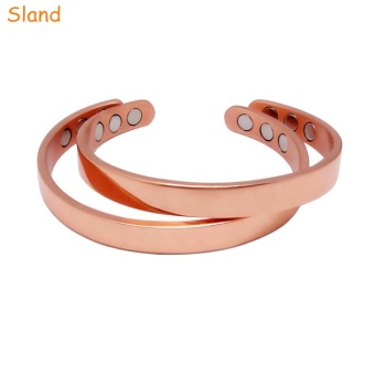 Guangzhou Sland wholesale Healing Bio health cuff jewelry Pain Relief pure copper magnetic bracelet