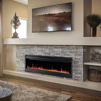 58 Built In Decorative Long Electric Fireplace Insert For Hotel