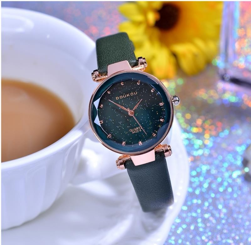 Luxury Brand High Quality Leather Women Watches reloj mujer Starry Dial Clock Watch Casual Dress Quartz Ladies Wristwatch Gift