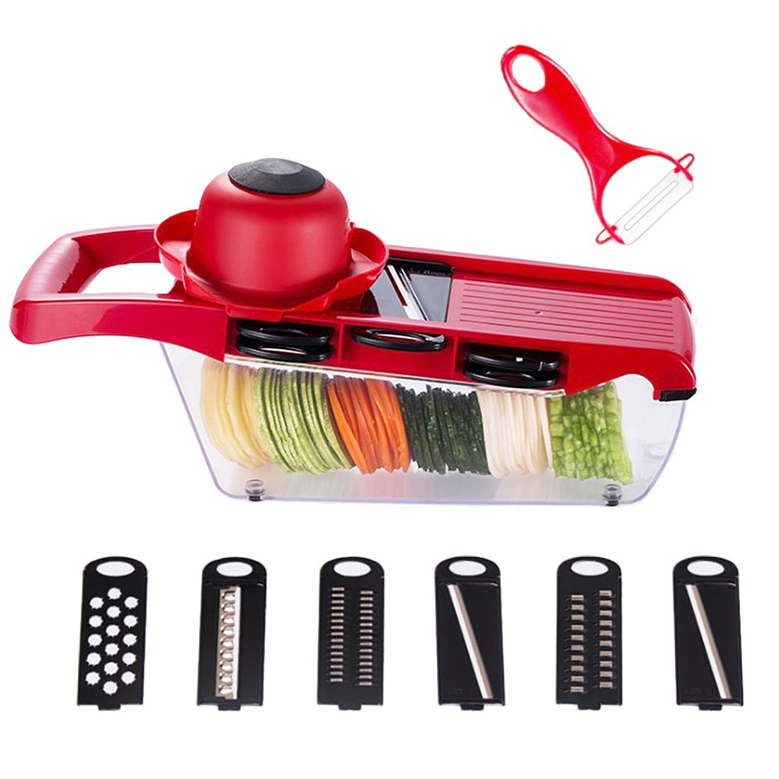 Mandoline Vegetable Slicer Cutter Food Processor 6 Interchangeable Blades 1 Peeler Hand Guard Finger Protector Storage Container Vegetable Cutter Grater Chopper for Potato Tomato Onion