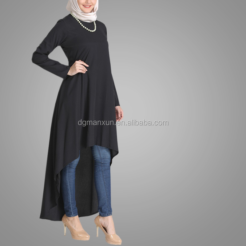 High Quality Simple Style Muslim Abaya Long Sleeve Casual Black Tops Fashion Tunic