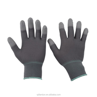 Breathable grey nylon pu finger coated ESD touch electrical safety work glove