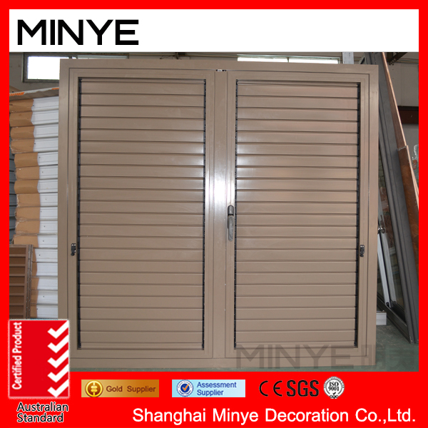 hot sales and high quality aluminum shutter/louver window with powder coating and top chinese brand hardware