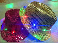 Fashion Colorful Led Fedora Hat Glow In The Dark Led Hat China manufacturer