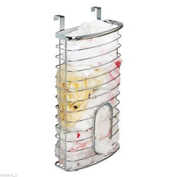 Plastic Bag Holder Over The Cabinet Door Basket Bin Recycle