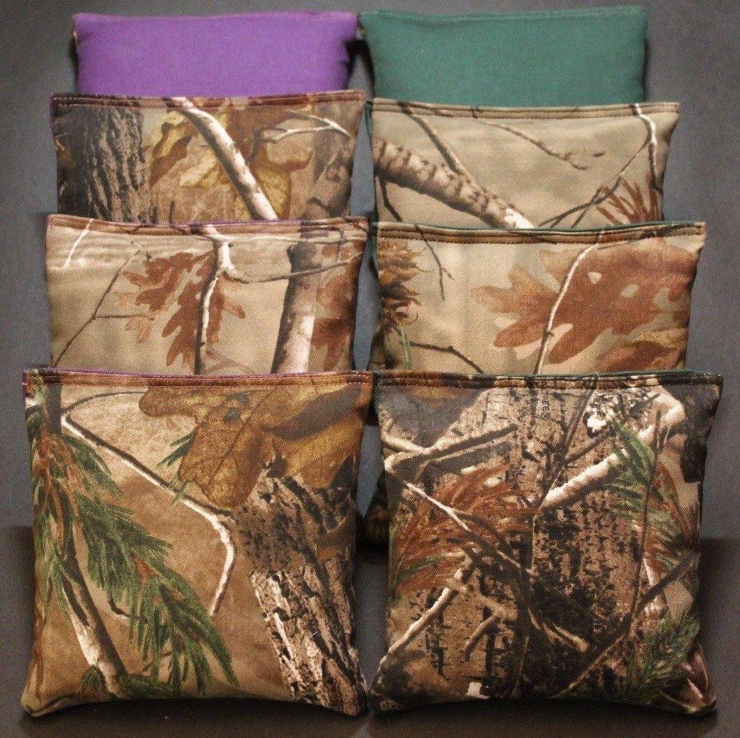 CORNHOLE BEAN BAGS REALTREE Camo Camoflauge Purple Green Hunting Fishing Bags