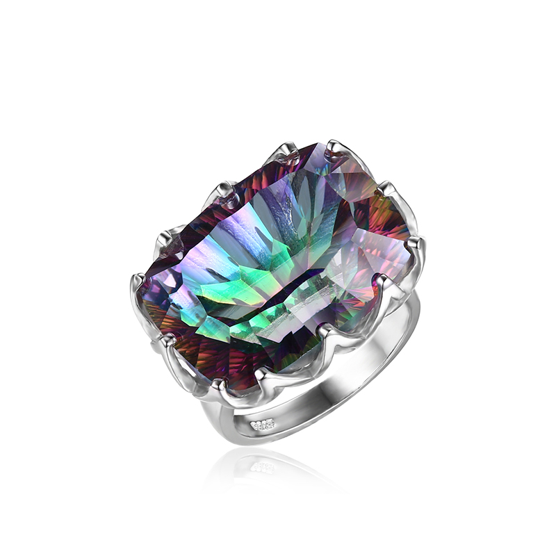 Jewelrypalae Gem Stone Genuine Rainbow Fire Mystic Topaz Ring Pure Solid 925 Sterling Silver Jewelry