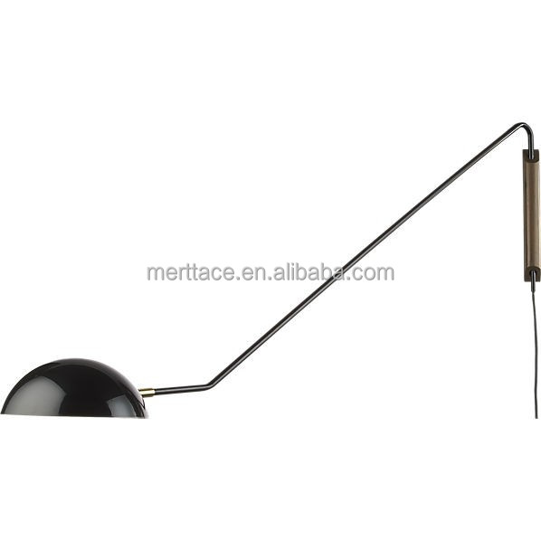 20% OFF New arrival Hotel Bedsides long swing metal arm natural wood base wall lamp
