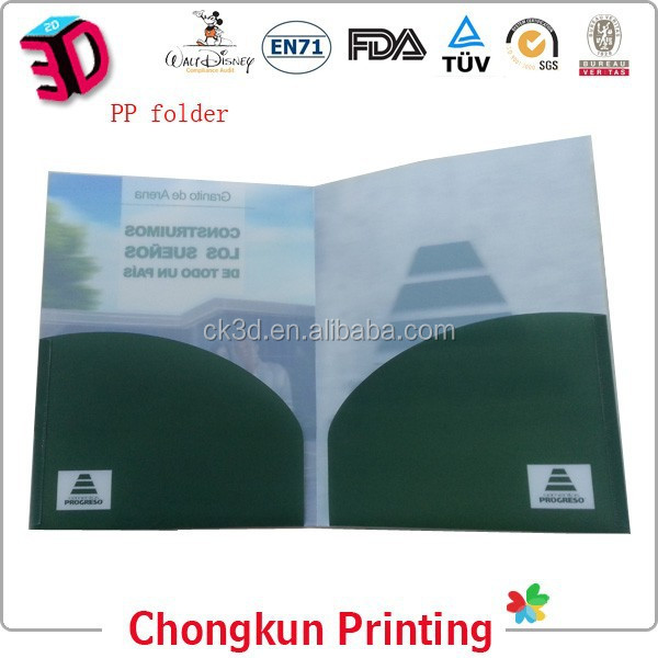 most popular plastic folder with pocket insert withprinted logo customized